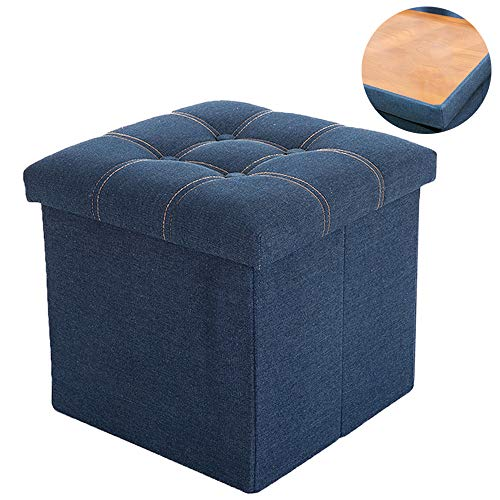 WALTSOM Folding Storage Ottoman, Cube Footrest Seat Stool Coffee Table with Hidden Tray, Soft Padding for Home and Office, 15 X15 x15 Blue
