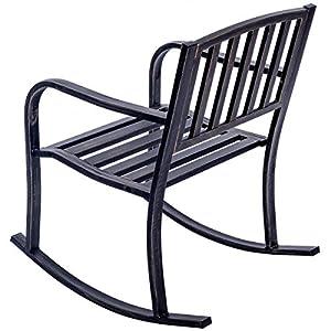 Rocking Chair Patio Deck Metal Porch Seat Outdoor Backyard Glider Rocker