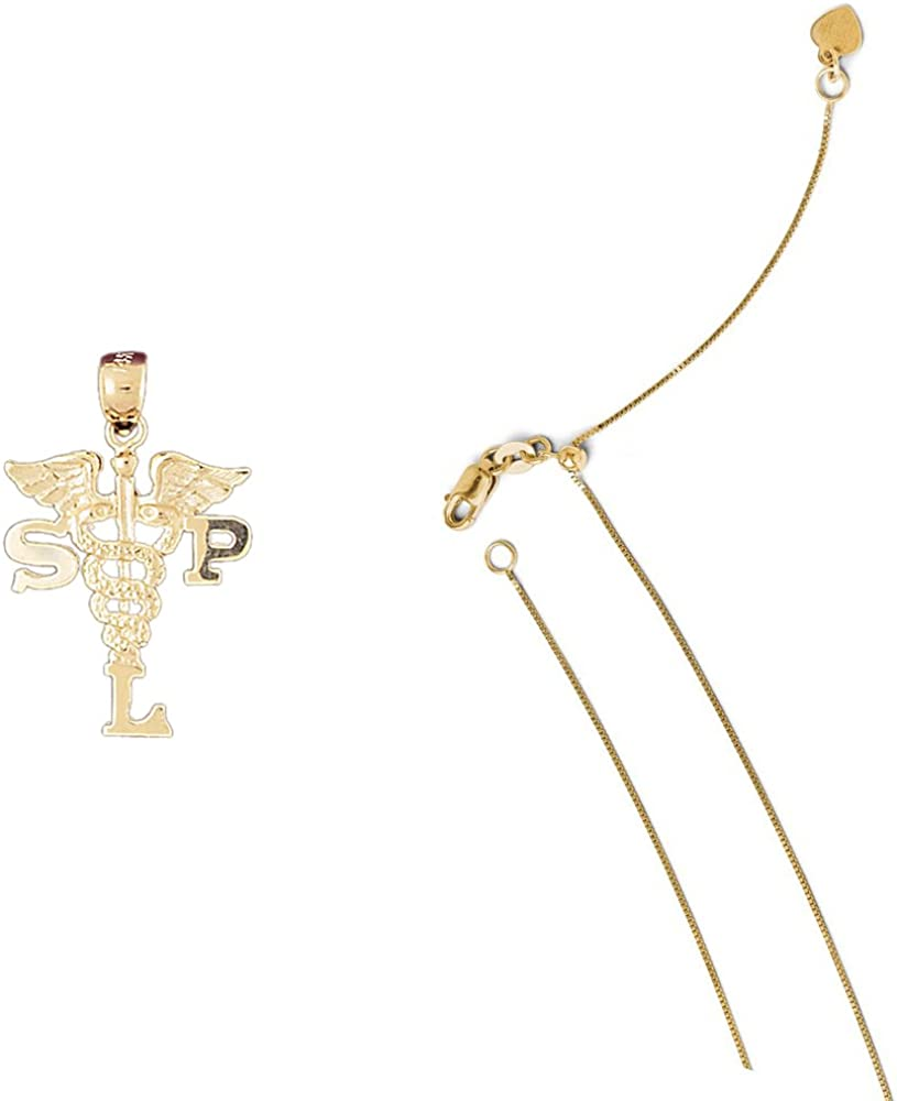 14K Yellow Gold SPL Surgical Planning Laboratory Pendant on an Adjustable Chain Necklace