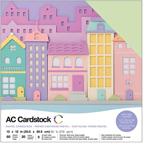 American Crafts Variety Pack Pastels 60 Sheets of 12 x 12 Inch Cardstock (Ac Cardstock Pack)