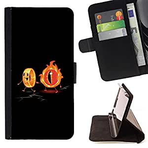 Flaming Eye & The Ring Funny - Painting Art Smile Face Style Design PU Leather Flip Stand Case Cover FOR Sony Xperia Z3 D6603 @ The Smurfs