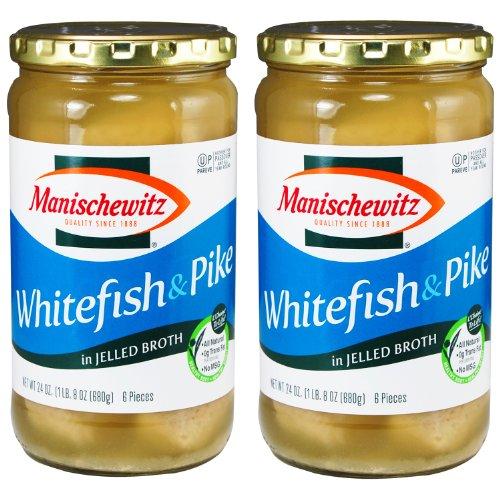 Manischewitz Gefilte Fish (Manischewitz Whitefish and Pike in Jelled Broth, Gefilte Fish, 24-ounce (Pack of 2))