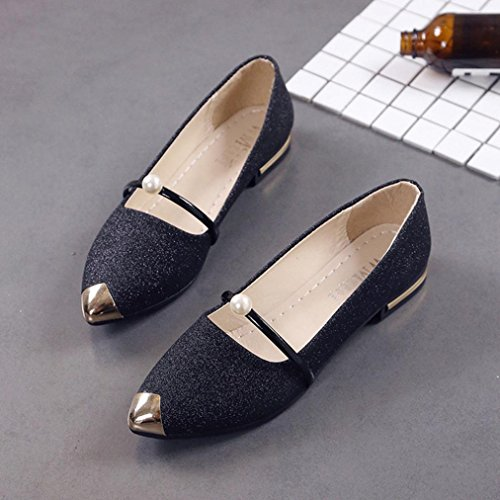 Low Shoes Shoes Ladies Women Shoes Shallow Casual Black Pointed Flat Heel Toe HGWXX7 Single Shoes Mouth Flat IF4qS4nx