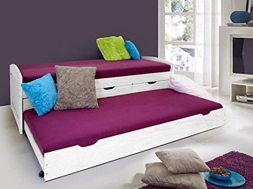 MARINELLA Funktionsbett Tandemliege 90 x 200 cm inkl. 4 Schubkästen für Kinderzimmer Jugendzimmer als Kinderbett Jugendbett Holzbett in Kiefer weiß