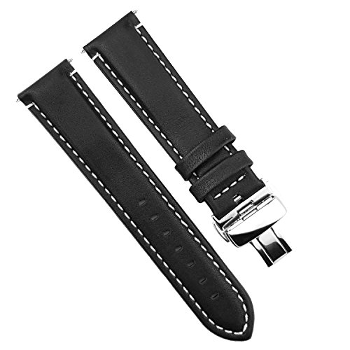 - DURA STRAPS 20mm Waterproof Leather Watch Bands, White Stitch, Push Button Deployment Butterfly Clasp