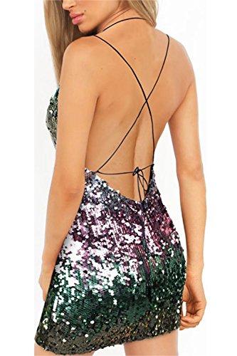 Mujeres Fiesta Verde Elegantes Vestido Paillettes Sequins De Las Correas Backless Spaghetti Bodycon HdHxvO