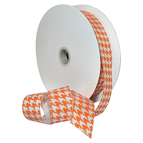 Morex Ribbon 7509.22/25-668 Hounds Tooth Grosgrain Ribbon, 7/8-Inch by 25-Yard, Tangerine