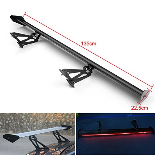 Racing Rear Wing (Areyourshop Universal Sedan Aluminum GT Rear Trunk Wing Racing Spoiler With Red Light Black)