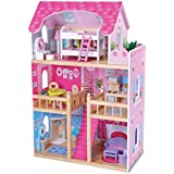 MMP Living Traditional Wooden Doll House with 16 Furniture Pieces - 3' Tall