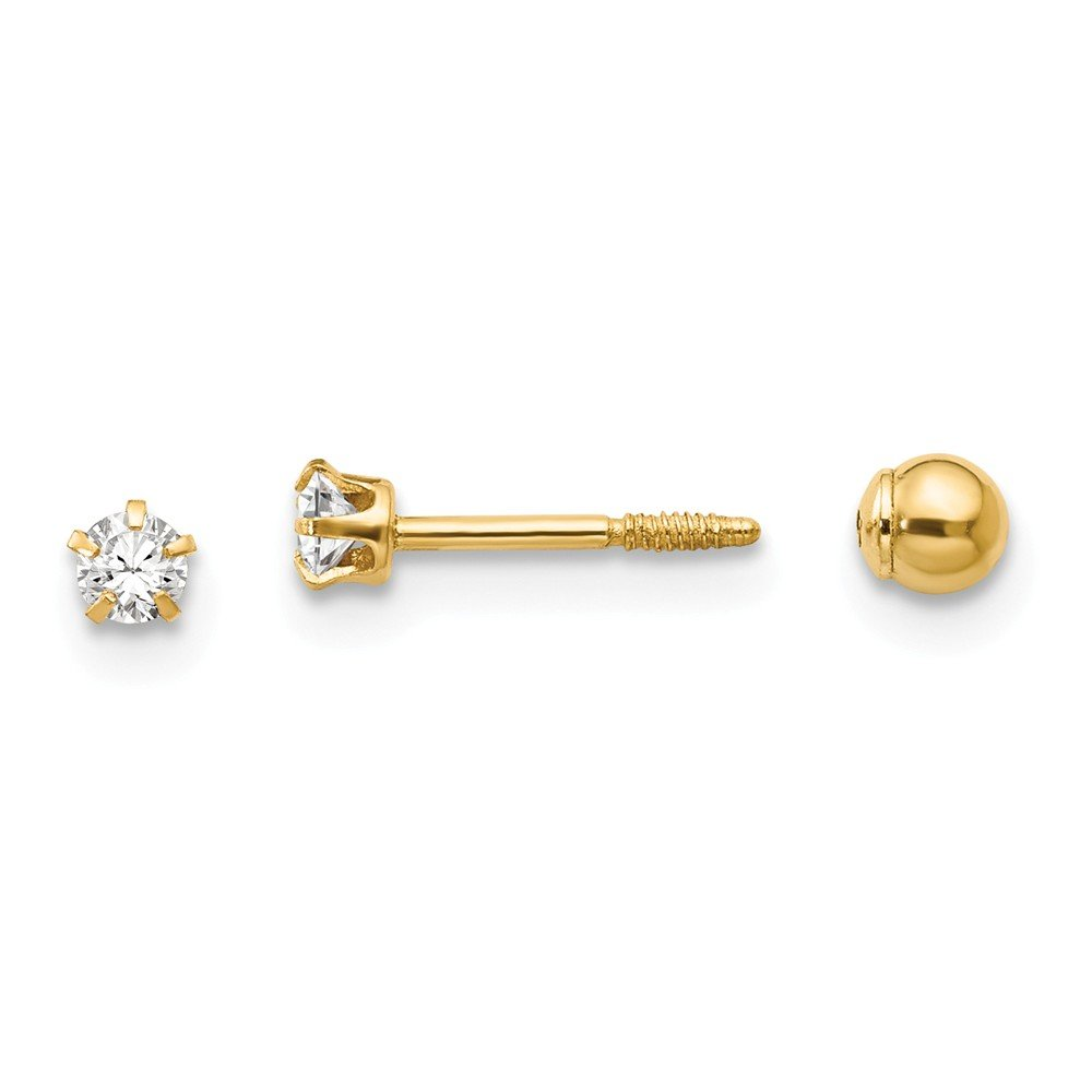 14K Yellow Gold Madi K 3mm Reversible CZ and Ball Earrings