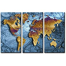 """World Map Canvas Wall Art, SZ 3 Piece Golden Map on Nautical Chart Canvas Prints for Bedroom, Ready to Hang, 1"""" Deep, Waterproof"""