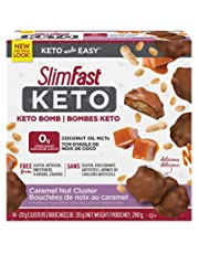 SlimFast Keto Bomb Snacks, 14x20g Chocolate Caramel Nut Clusters per Box, 280 Grams