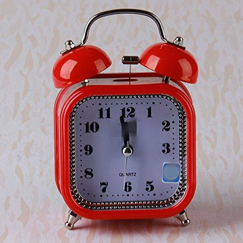 WarmFemme Creative  ly Décoration de carré Cadeau Beau Réveil carré de Silencieux avec veilleuse pour  s étudiants (Rouge) 47ad82