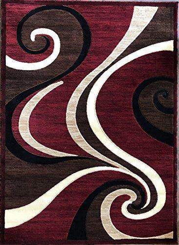 Modern Contemporary Area Rug Red Carpet King Design 144 (8 Feet X 10 Feet 6 Inch)