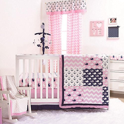 Pink Whale Nautical Anchor Baby Crib Bedding - 20 Piece Nursery Essentials Set (Knit Cuddly Collection)