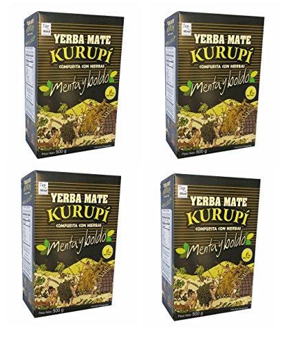 Kurupi Mint Boldo Yerba Mate 500 g (1.1 lbs) 4 Pack