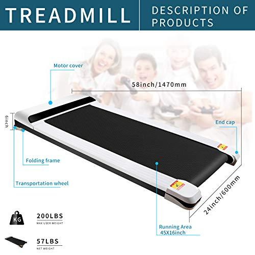 UMAY Portable Treadmill with Foldable Wheels, Under Desk Walking Pad Flat Slim Treadmill, Sports App, Installation-Free…