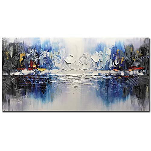 (V-inspire Art, 24x48 Inch Modern Art 100% Hand-Painted Abstract Art Inner Wooden Frame Canvas Oil Painting Wall Art Decoration Hanging Painting)