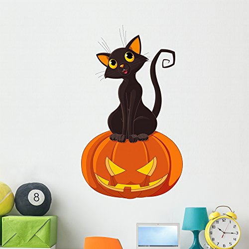 Wallmonkeys FOT-26391960-48 WM113892 Halloween Cat on Pumpkin Peel and Stick Wall Decals (48 in H x 28 in W), Extra -