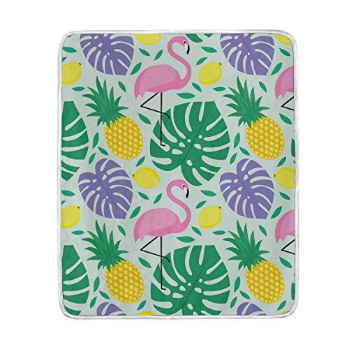 DOSHINE Couvre-lit, Flamingo Feuilles de Palmier Tropical Ananas ultraléger et Souple Warmer couvertures 127 x 152,4 cm pour canapé lit Chaise de Bureau