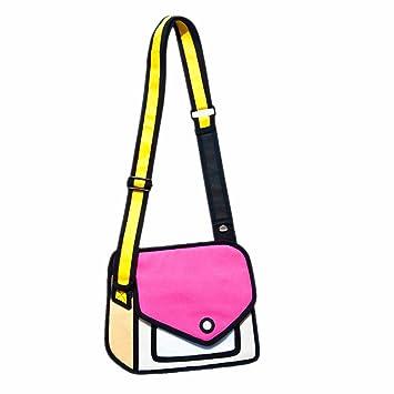 4271ff300d Amazon.com   Fashion Jump Design Mixed Color 3D Cartoon Bag 2D Drawing From  Paper Creative Shoulder Bag   Beauty