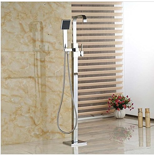 GOWE Polished Chrome Brass One Handle Bathtub Faucet Free Standing Floor Mount Bathroom Tub Mixer Taps (Brass 1 Handle)