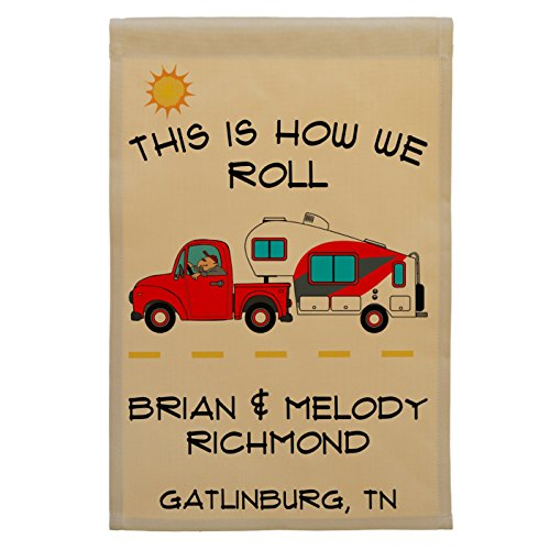 Personalized Campsite Flag made our list of Over100 Ideas ForThis Holiday Season For Christmas Gifts For Campers And RV Owners