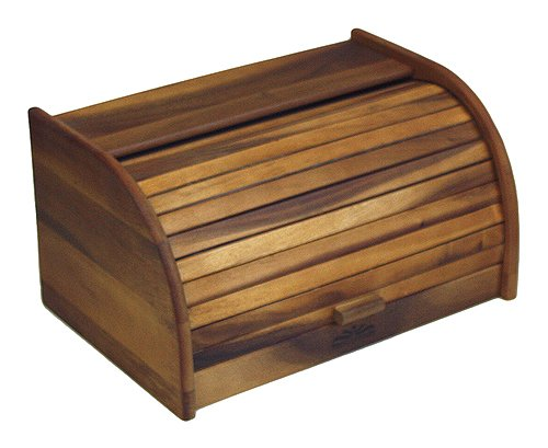 Mountain Woods Large Acacia Wood Roll Top Bread Box & Storage Box ARTBB