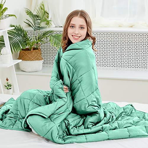 Cheap Larvinhom Cooling Weighted Blanket for Adults 48 x72 20lbs (for 120lbs-180lbs) Full Size Breathable Heavy Blanket with Glass Beads 100% Cotton(Green Black Friday & Cyber Monday 2019