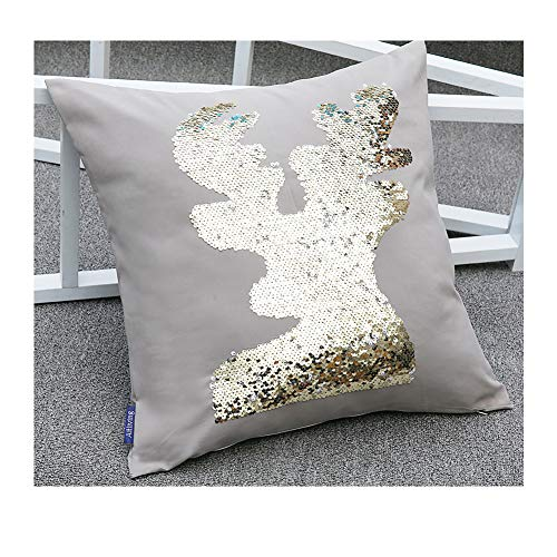 Toss Deer Pillow - Aitliving Glitter Deer Sequins Pillow Shell 18X18 Reindeer Animal Throw Pillow Cover Family Party Kids Room Country Decorative Flipped Two-Tone Gold/White Twinkly Sequins Reversible Toss Pillow Case