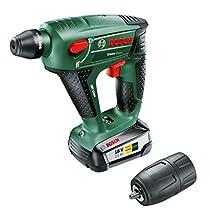 Bosch Uneo Maxx - Martillo perforador a batería (18 V, portabrocas adicional para brocas cilíndricas) [Power for all]