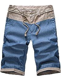 Minibee Men's Casual Regular Fit Short Fashion Linen Pants(Blue-38)