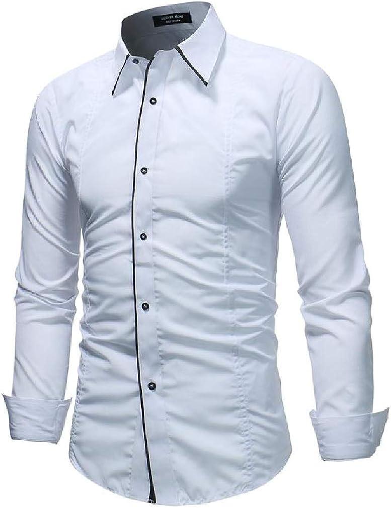 Cromoncent Men Long Sleeve Lapel Neck Curved Hem Button Down Shirts