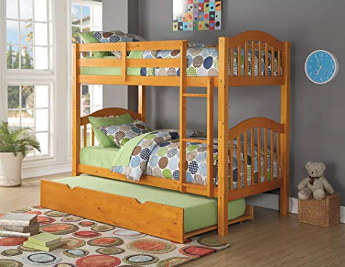 - HomeRoots Twin/Twin Bunk Bed, Honey Oak - Pine Wood, Birch Veneer, Honey Oak