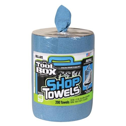 "Price comparison product image SELLARS WIPERS & SORBENTS 55207 Blue Toolbox Z400 Big Grip Refill Blue Shop Towels, 2493114, 10"" x 12"", 200 Sheets per Roll, 6 Rolls per Case"