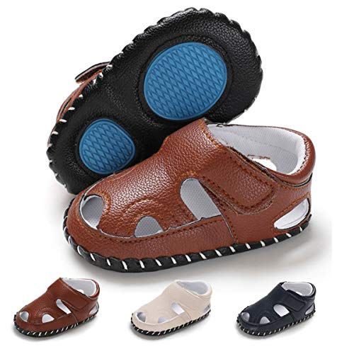 Baby Boys Girls Summer Sandals Closed-Toe Outdoor Soft Sole Anti-Slip Toddler First Walker Infant Newborn Crib Shoes (12-18 Months M US Infant, B-Brown)