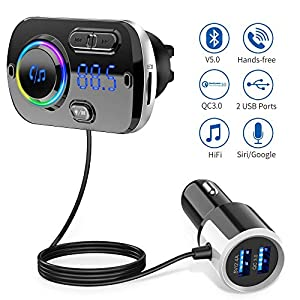 Bluetooth FM Transmitter for Car,Bluetooth 5.0 Radio Car Adapter QC3.0 & LED Backlit with Dual USB Ports Bluetooth Car… MP3 and MP4 Player Accessories