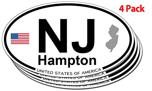 Hampton, New Jersey Oval Sticker - 4 pack