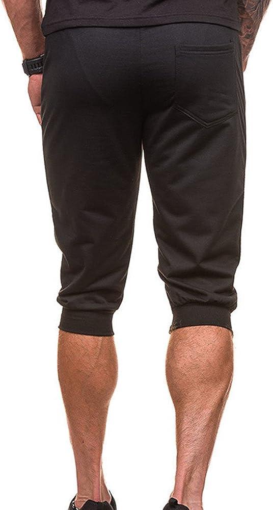 Althletic Gym Workout Pants Casual Summer Sport Short Sweatpants QBQCBB Mens 3//4 Pants