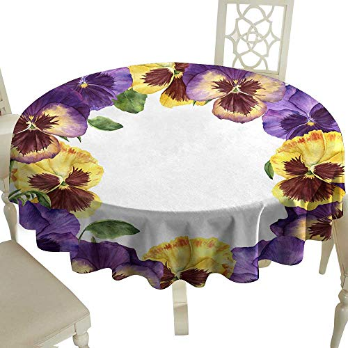 WinfreyDecor Easy Care Tablecloth Watercolor Floral Card with Pansy Flowers Hand Painted illustra Indoor Outdoor Camping Picnic ()