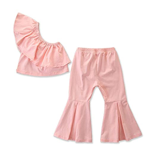 f3f1dfd1c659e HANANei Kids Baby Girl Off Shoulder Solid Ruffle Tank Top Long Flare Pants  Outfits Set 2PCS