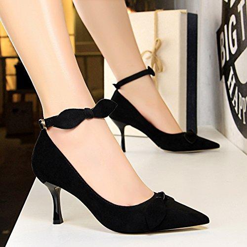 mujer con luz de zapatos y Qiqi plana fina boquilla Negro talón alto satén Xue zapatos zapatos de versátil con pajarita alto de de tacón solo Elegante punta de de la la qxaCw7