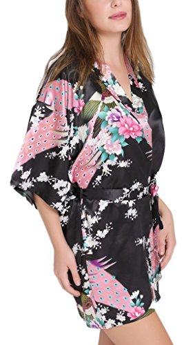Aibrou-Damen-Morgenmantel-glatte-Satin-Nachtwsche-Bademantel-mit-Peacock-und-Blume-Kimono-Negligee-Seidenrobe-Schlafanzug-Glanz-Look-kurz