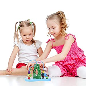Wooden Toys, Baby Activity Center, Wood Bead Maze for Toddlers, Gift for Boys & Girls, Educational Learning Toys for Kids by FUN LITTLE TOYS that we recomend personally.