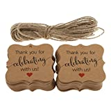 Prettyia Pack pf 100 Thank You For Celebrating With Us Gift Tags Hanging Labels DIY Scrapbooking Embellishment - Brown, as described