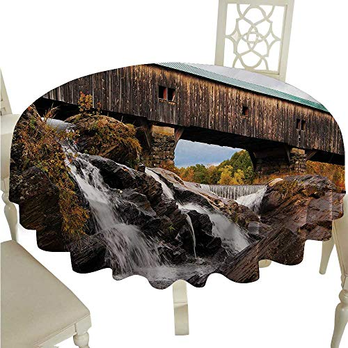 Landscape Round Polyester Tablecloth Old Rustic Oak Covered Bridge Over Cascading Waterfalls Rock Fall Season American City Washable Polyester - Great for Buffet Table, Parties, Holiday Dinner, Weddi -