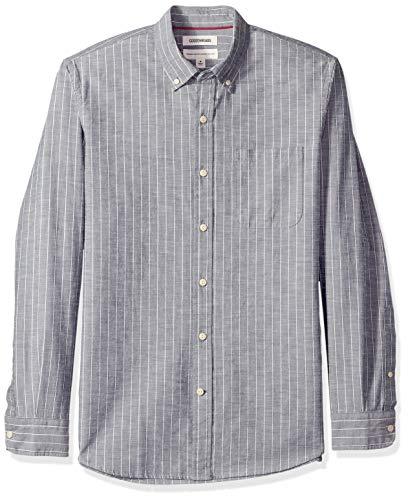 Goodthreads Men's Standard-Fit Long-Sleeve Pinstripe Chambray Shirt, -denim stripe, Medium ()