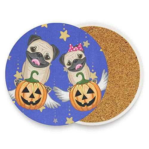 Halloween Dogs With Pumpkins Coasters, Prevent Furniture From Dirty And Scratched, Round Drink Coasters Set Suitable For Kinds Of Mugs And Cups, Living Room Decorations Gift Set Of 2 -