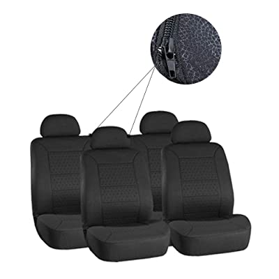 ECCPP Universal New 5MM Padding Soft Car Seat Cover w/Headrest - 100% Breathable Embossed Cloth Stretchy Durable Black for Most Cars Trucks Vans: Automotive