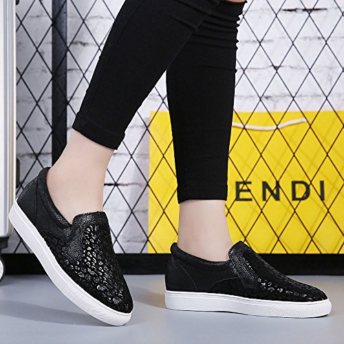 Enllerviid Donna Tallone Nascosto Slip On Sneakers Zeppa Moda Mocassini Piattaforma Leopardata 2551 Leopardo Nero